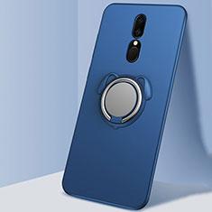Custodia Silicone Ultra Sottile Morbida Cover con Magnetico Anello Supporto A01 per Oppo A9 Blu