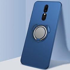 Custodia Silicone Ultra Sottile Morbida Cover con Magnetico Anello Supporto A01 per Oppo A9X Blu