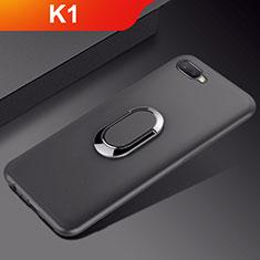 Custodia Silicone Ultra Sottile Morbida Cover con Magnetico Anello Supporto A01 per Oppo K1 Nero
