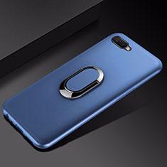Custodia Silicone Ultra Sottile Morbida Cover con Magnetico Anello Supporto A01 per Oppo R15X Blu