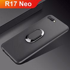 Custodia Silicone Ultra Sottile Morbida Cover con Magnetico Anello Supporto A01 per Oppo R17 Neo Nero