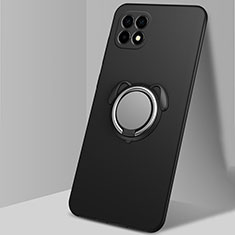 Custodia Silicone Ultra Sottile Morbida Cover con Magnetico Anello Supporto A01 per Oppo Reno4 SE 5G Nero