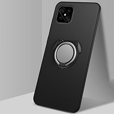 Custodia Silicone Ultra Sottile Morbida Cover con Magnetico Anello Supporto A01 per Oppo Reno4 Z 5G Nero