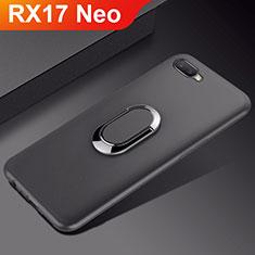 Custodia Silicone Ultra Sottile Morbida Cover con Magnetico Anello Supporto A01 per Oppo RX17 Neo Nero