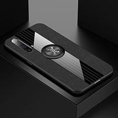 Custodia Silicone Ultra Sottile Morbida Cover con Magnetico Anello Supporto A01 per Realme X3 SuperZoom Nero