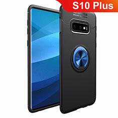 Custodia Silicone Ultra Sottile Morbida Cover con Magnetico Anello Supporto A01 per Samsung Galaxy S10 Plus Blu e Nero