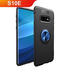 Custodia Silicone Ultra Sottile Morbida Cover con Magnetico Anello Supporto A01 per Samsung Galaxy S10e Blu e Nero
