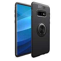Custodia Silicone Ultra Sottile Morbida Cover con Magnetico Anello Supporto A01 per Samsung Galaxy S10e Nero