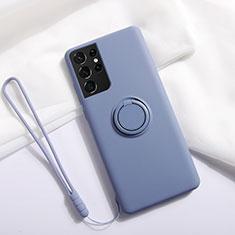 Custodia Silicone Ultra Sottile Morbida Cover con Magnetico Anello Supporto A01 per Samsung Galaxy S21 Ultra 5G Grigio Lavanda