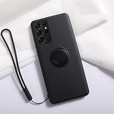 Custodia Silicone Ultra Sottile Morbida Cover con Magnetico Anello Supporto A01 per Samsung Galaxy S21 Ultra 5G Nero