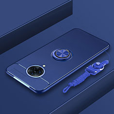 Custodia Silicone Ultra Sottile Morbida Cover con Magnetico Anello Supporto A01 per Vivo Nex 3S Blu
