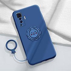 Custodia Silicone Ultra Sottile Morbida Cover con Magnetico Anello Supporto A01 per Vivo X50 5G Blu