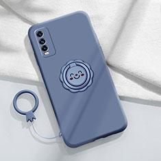Custodia Silicone Ultra Sottile Morbida Cover con Magnetico Anello Supporto A01 per Vivo Y12s Grigio Lavanda