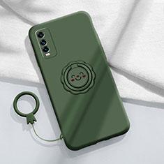 Custodia Silicone Ultra Sottile Morbida Cover con Magnetico Anello Supporto A01 per Vivo Y12s Verde Notte