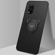 Custodia Silicone Ultra Sottile Morbida Cover con Magnetico Anello Supporto A01 per Xiaomi Mi 10 Lite Nero