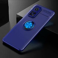Custodia Silicone Ultra Sottile Morbida Cover con Magnetico Anello Supporto A01 per Xiaomi Mi 10T 5G Blu