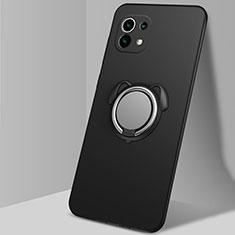 Custodia Silicone Ultra Sottile Morbida Cover con Magnetico Anello Supporto A01 per Xiaomi Mi 11 5G Nero