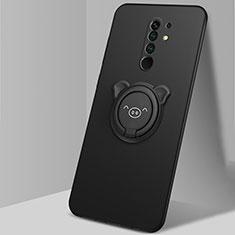 Custodia Silicone Ultra Sottile Morbida Cover con Magnetico Anello Supporto A01 per Xiaomi Redmi 9 Prime India Nero