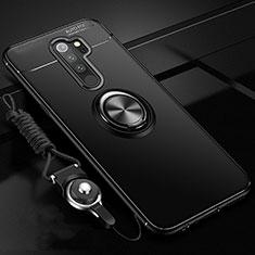 Custodia Silicone Ultra Sottile Morbida Cover con Magnetico Anello Supporto A01 per Xiaomi Redmi Note 8 Pro Nero