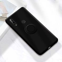 Custodia Silicone Ultra Sottile Morbida Cover con Magnetico Anello Supporto A02 per Huawei Enjoy 10 Plus Nero