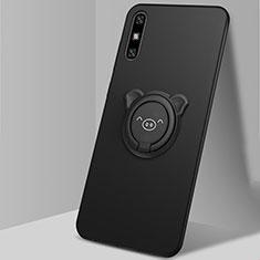 Custodia Silicone Ultra Sottile Morbida Cover con Magnetico Anello Supporto A02 per Huawei Enjoy 10e Nero