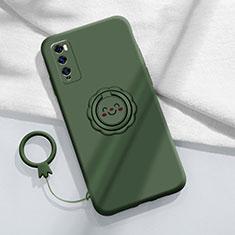 Custodia Silicone Ultra Sottile Morbida Cover con Magnetico Anello Supporto A02 per Huawei Enjoy 20 Pro 5G Verde