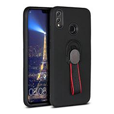 Custodia Silicone Ultra Sottile Morbida Cover con Magnetico Anello Supporto A02 per Huawei Honor View 10 Lite Nero