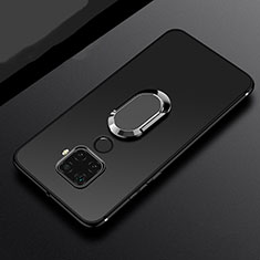 Custodia Silicone Ultra Sottile Morbida Cover con Magnetico Anello Supporto A02 per Huawei Mate 30 Lite Nero