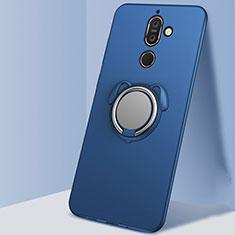 Custodia Silicone Ultra Sottile Morbida Cover con Magnetico Anello Supporto A02 per Nokia 7 Plus Blu