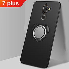 Custodia Silicone Ultra Sottile Morbida Cover con Magnetico Anello Supporto A02 per Nokia 7 Plus Nero