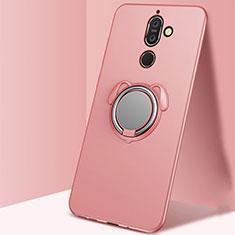 Custodia Silicone Ultra Sottile Morbida Cover con Magnetico Anello Supporto A02 per Nokia 7 Plus Oro Rosa