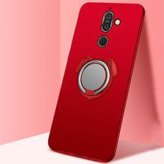 Custodia Silicone Ultra Sottile Morbida Cover con Magnetico Anello Supporto A02 per Nokia 7 Plus Rosso