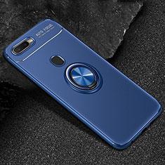 Custodia Silicone Ultra Sottile Morbida Cover con Magnetico Anello Supporto A02 per Oppo A7 Blu