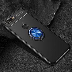 Custodia Silicone Ultra Sottile Morbida Cover con Magnetico Anello Supporto A02 per Oppo A7 Blu e Nero
