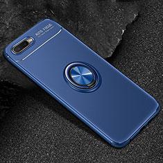 Custodia Silicone Ultra Sottile Morbida Cover con Magnetico Anello Supporto A02 per Oppo R17 Neo Blu