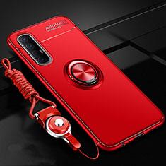 Custodia Silicone Ultra Sottile Morbida Cover con Magnetico Anello Supporto A02 per Oppo Reno3 Pro Rosso