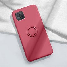 Custodia Silicone Ultra Sottile Morbida Cover con Magnetico Anello Supporto A02 per Oppo Reno4 Z 5G Rosso Rosa