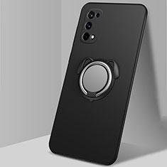 Custodia Silicone Ultra Sottile Morbida Cover con Magnetico Anello Supporto A02 per Realme Q2 Pro 5G Nero