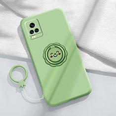 Custodia Silicone Ultra Sottile Morbida Cover con Magnetico Anello Supporto A02 per Vivo V20 Pro 5G Verde Pastello