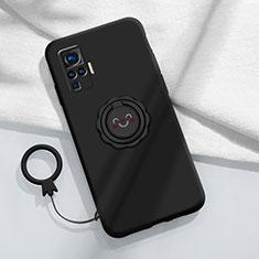 Custodia Silicone Ultra Sottile Morbida Cover con Magnetico Anello Supporto A02 per Vivo X50 Pro 5G Nero