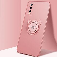 Custodia Silicone Ultra Sottile Morbida Cover con Magnetico Anello Supporto A02 per Vivo Y12s Oro Rosa