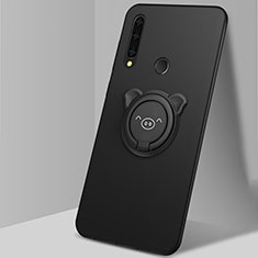 Custodia Silicone Ultra Sottile Morbida Cover con Magnetico Anello Supporto A03 per Huawei Enjoy 10 Plus Nero