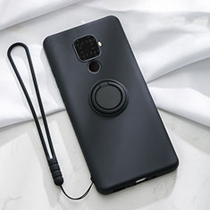 Custodia Silicone Ultra Sottile Morbida Cover con Magnetico Anello Supporto A03 per Huawei Mate 30 Lite Nero