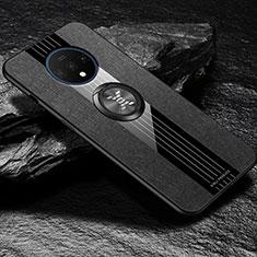 Custodia Silicone Ultra Sottile Morbida Cover con Magnetico Anello Supporto A03 per OnePlus 7T Nero