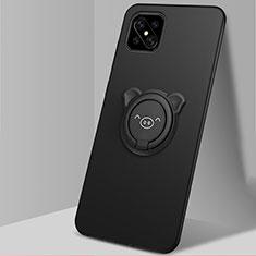 Custodia Silicone Ultra Sottile Morbida Cover con Magnetico Anello Supporto A03 per Oppo A92s 5G Nero