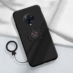 Custodia Silicone Ultra Sottile Morbida Cover con Magnetico Anello Supporto A04 per Vivo Nex 3 Nero