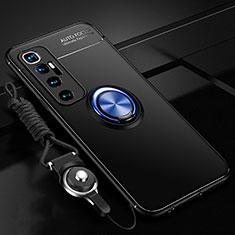 Custodia Silicone Ultra Sottile Morbida Cover con Magnetico Anello Supporto A04 per Xiaomi Mi 10 Ultra Blu e Nero