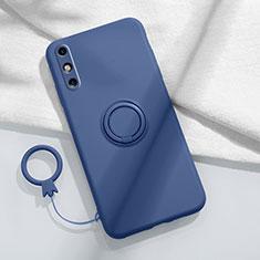Custodia Silicone Ultra Sottile Morbida Cover con Magnetico Anello Supporto A05 per Huawei Enjoy 10e Blu