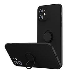 Custodia Silicone Ultra Sottile Morbida Cover con Magnetico Anello Supporto N01 per Apple iPhone 12 Nero