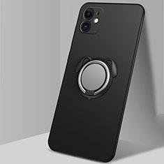 Custodia Silicone Ultra Sottile Morbida Cover con Magnetico Anello Supporto N02 per Apple iPhone 12 Nero